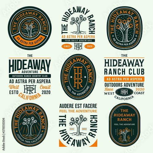 Colored hideaway ranch adventure vector badges Wallpaper Mural