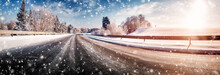 Winter Road, Covered With Snow...