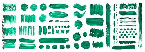 Vászonkép Green brush strokes with watercolor paint