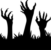Zombie Hands Silhouette. , Sca...