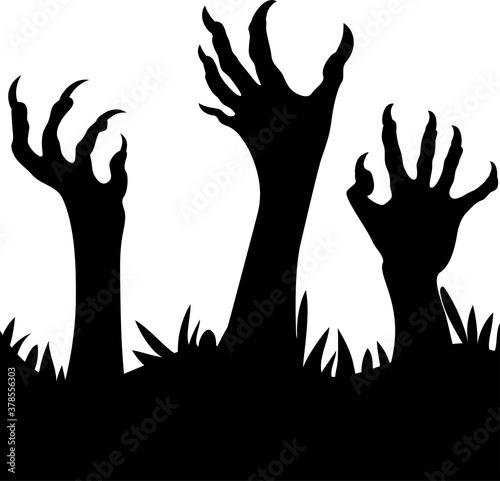Zombie hands Silhouette Billede på lærred
