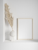 Mock up frame with minimal decor close up in home interior background, 3d render