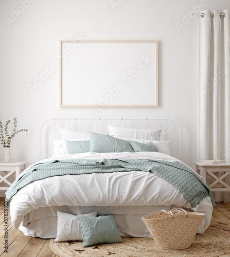 Foto Frame mock up in farmhouse bedroom interior, 3d render