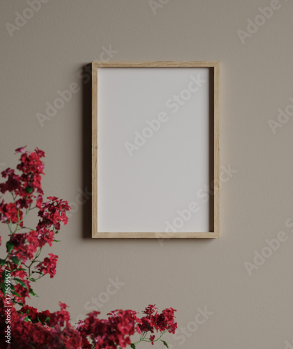 Mockup frame in vintage interior background close up, 3d render