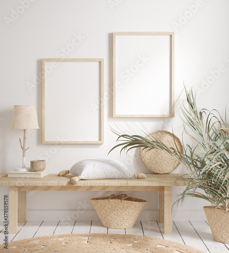 Mock up frame with minimal decor close up in home interior background, 3d render - 378559578