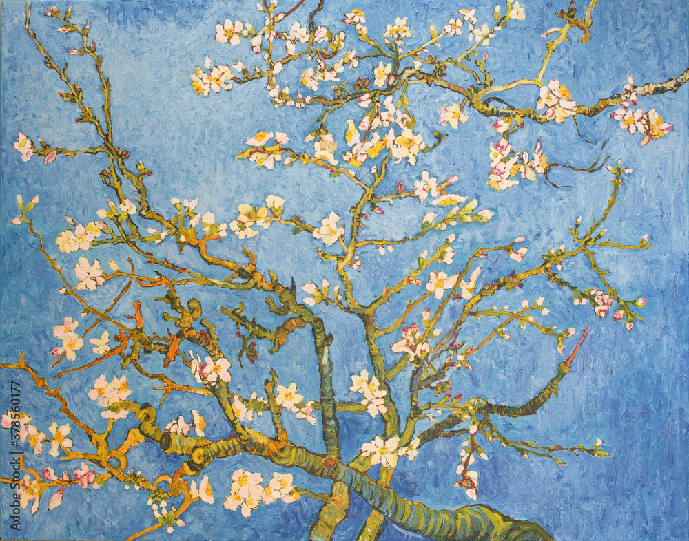 Blossoming Almond Tree. Beautiful oil painting on canvas. Based on the great painting by Van Gogh, 1890. Brush strokes and canvas textures