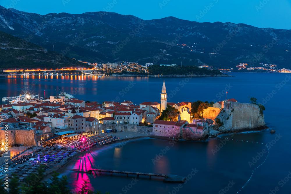 Fototapeta Budva old town night view, Adriatic seaside, Montenegro