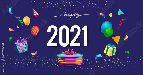 Fototapeta Happy new year 2021 typography vector design for greeting cards and poster with balloon, confetti, design obraz
