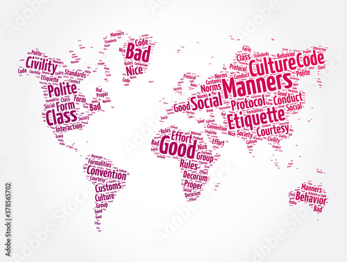 Valokuva Manners word cloud in shape of world map, concept background
