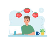 Man Working With Computer Using Time Management. Pomodoro Technique Concept