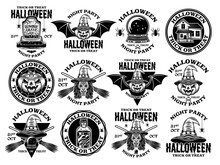 Halloween Big Set Of Vector Vintage Style Emblems