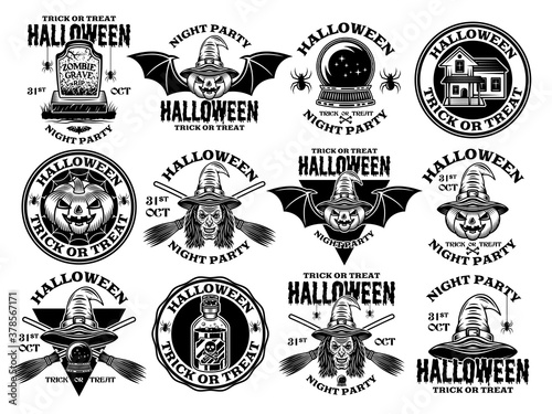 Tablou Canvas Halloween big set of vector vintage style emblems
