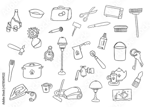 Home appliances hand drawing set various household equipment and items