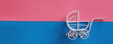 Vintage Baby Stroller On Pink ...