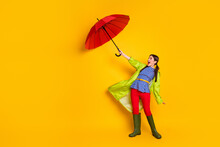 Full Length Body Size View Of Her She Nice Attractive Trendy Cheerful Cheery Funny Girlish Girl Wearing Green Coat Struggling Wind Isolated Bright Vivid Shine Vibrant Yellow Color Background