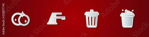 Tablou Canvas Set Washing dishes, Water tap, Trash can and Bucket with soap suds icon