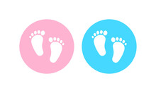 Gender Reveal Party Icon. Boy Or Girl. Family Concept. Footprints. Vector On Isolated White Background. EPS 10