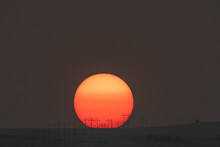 Sunrise Thru The Smoke From The Western Forest Fires;  Laramie Valley;  Wyoming