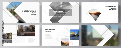 Fototapeta Vector layout of the presentation slides design business templates, multipurpose template with geometric simple shapes, lines and photo place for presentation brochure, brochure cover, business report obraz