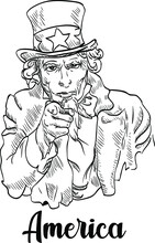 Hand-drawn American Character Uncle Sam Wearing A Hat