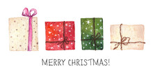 Set Of Bright Colorful Christmas Presents Isolated On White Background.