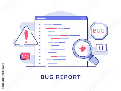 Bug report concept magnifying bug on program software computer with flat outline Fototapeta