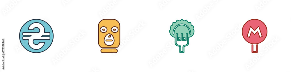 Fototapeta Set Ukrainian hryvnia, Thief mask, Dumplings on fork and Metro Underground icon. Vector.