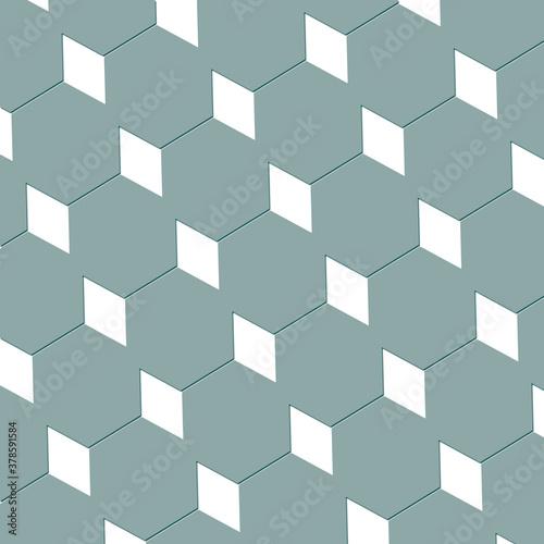 Photo Diamond and hexagon abstract cubist art design wallpaper texture in pastel green