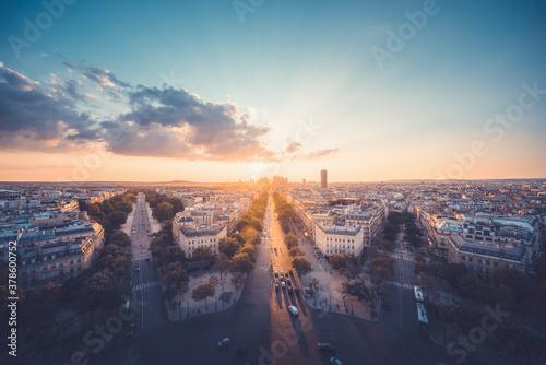 Fototapeta Paris view from Arc de Trimphe, France obraz