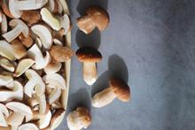 Sliced Edible Mushrooms Boletu...