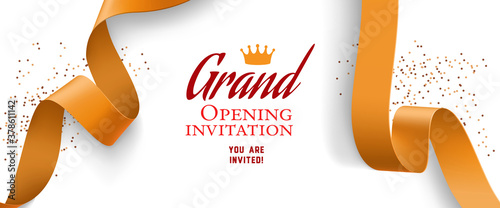 Obraz Grand opening invitation design with confetti, gold ribbons - fototapety do salonu