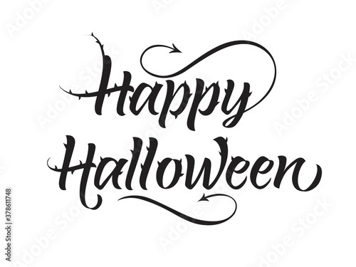Fototapeta Happy Halloween lettering with spikes obraz