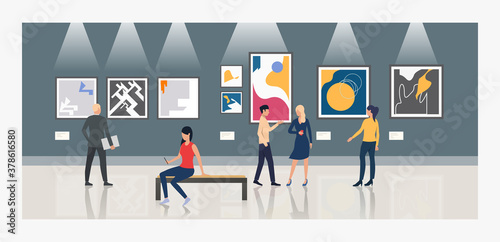 Fototapeta Tourists looking at paintings in art gallery vector illustration obraz