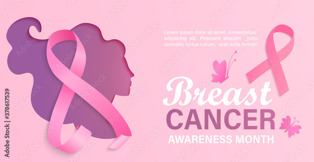 Fototapeta Breast cancer awareness month, card, flyer, banner with woman silhouette in papercut style.Poster for world preventive health care iniative.Paper cut face with ribbon.Template for design.Vector.