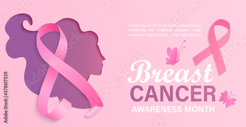 Breast cancer awareness month, card, flyer, banner with woman silhouette in papercut style Fototapet