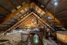 Old Abandoned And Cluttered Attic