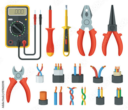 Photo Electrical cable wires and different electronic tools