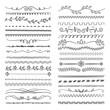 Hand drawn lines. Floral scribble ornamental web dividers wedding doodle vector decoration