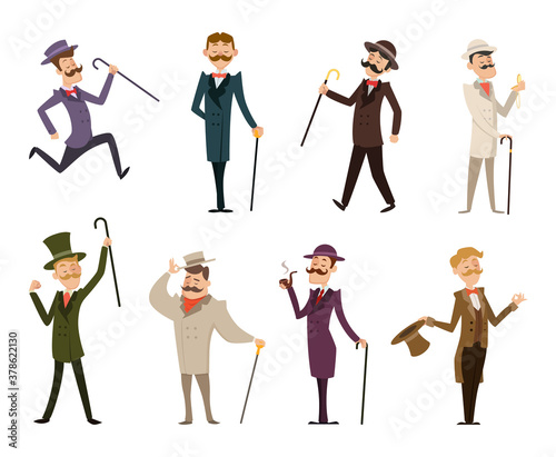 Set of english victorian gentlemen. Characters in dynamic poses Canvas Print