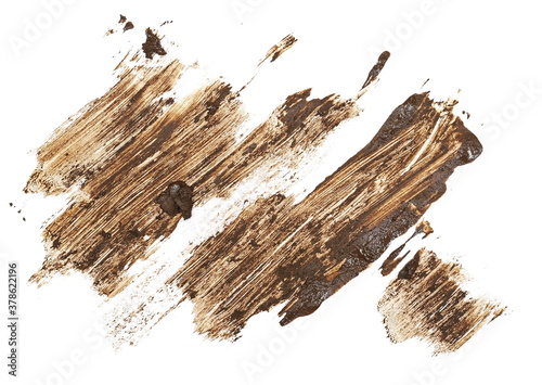 Wet mud, stains texture isolated on white background, top view and clipping path Fototapeta