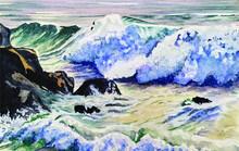 Waves Crashing Onto Rock Watercolour Painting Vector Illustration Card