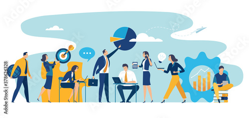 Team cooperation concept. Large group wide format. Business vector illustration.