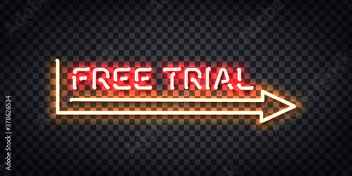 Fototapeta realistic isolated neon sign free trial frame logo template decoration layout co