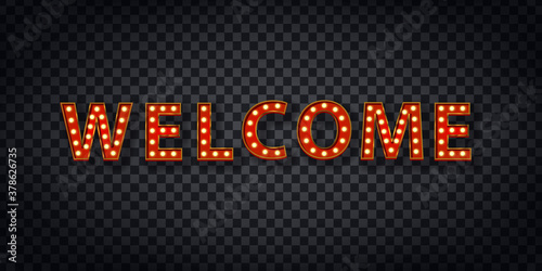 realistic marquee welcome logo decoration covering transparent background