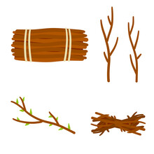 Set Of Wood. Twigs For Fire. Bundle Of Firewood. Set Of Flat Cartoon Illustration Isolated On White Background. Stick Of Tree With Leaves