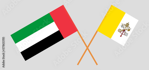 Crossed flags of Vatican and the United Arab Emirates Wallpaper Mural