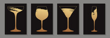 Modern Abstract Luxury Card Templates For Wine Tasting Invitation Or Bar And Restaurant Menu Or Banner Or Presentation With Golden Glasses In Grunge Style On A Black Background.