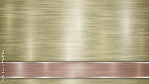 Obraz Background consisting of a golden shiny metallic surface and one horizontal polished bronze plate located below, with a metal texture, glares and burnished edges - fototapety do salonu