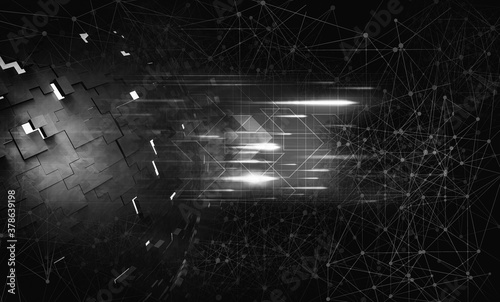 Foto 3D rendering of abstract technology digital hi tech background