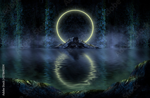 Fantastic forest with a lake in the center, an abstract island, woodland. Fantasy forest landscape, neon light reflected in the water.